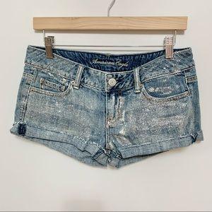 American Eagle Sparkly Glitter Short Shorts